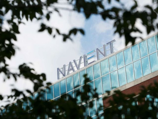 PHOTO: A logo sign outside of the headquarters of the Navient Corporation in Wilmington, Del., Aug. 29, 2015.