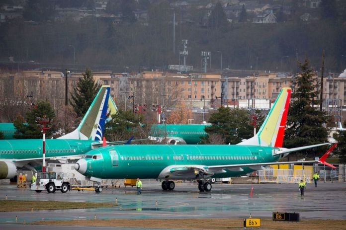 Boeing 737 airplanes are pictured on the tarmac at the Boeing Renton Factory in Renton, Washington, March 12, 2019.