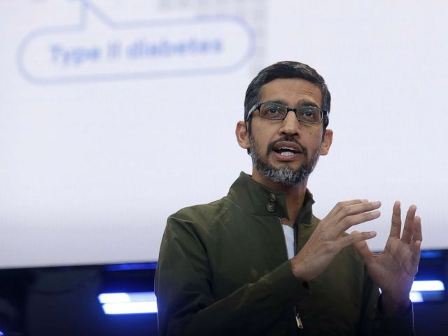 PHOTO: Google CEO Sundar Pichai speaks at the Google I/O conference in Mountain View, Calif., May 8, 2018.