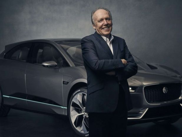 PHOTO: Ian Callum poses with the I-PACE concept car in August 2017.