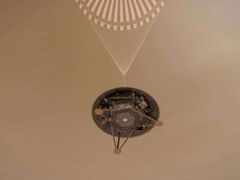 PHOTO: An undated handout illustration made available by NASA shows a simulated view of NASAs InSight lander descending towards the surface of Mars on its parachute.