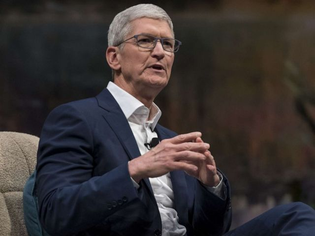 PHOTO: Tim Cook, chief executive officer of Apple Inc., speaks during a keynote at the 2019 DreamForce conference in San Francisco, Nov. 19, 2019.