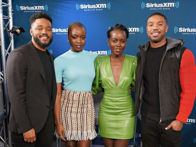 PHOTO: Director Ryan Coogler and actors Danai Gurira, Lupita Nyongo and Michael B. Jordan take part in SiriusXMs Town Hall with the cast of Black Panther hosted by SiriusXMs Sway Calloway, Feb. 13, 2018 in New York City.