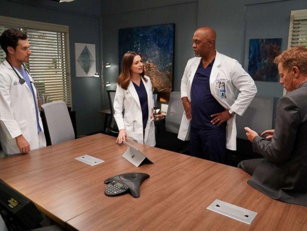 PHOTO:Giacomo Gianniotti, Caterina Scorsone, James Pickens Jr. and Greg Germann on the set of Greys Anatomy.