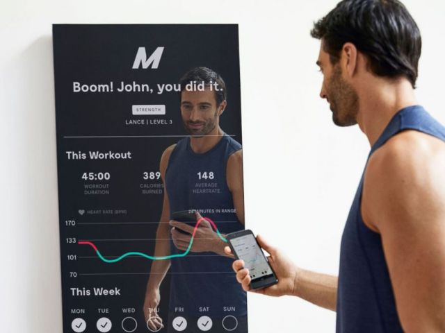 PHOTO: Mirror can pair with a heart rate monitor.