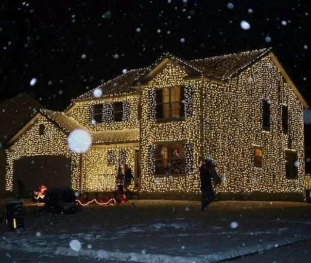 Photo Greg Osterland Of Wadsworth Ohio Uses  Lights To Decorate His House