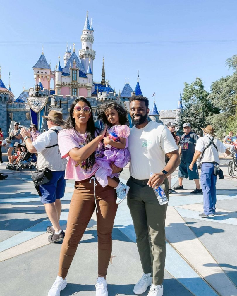 PHOTO: Kashe Quest, 3, from Los Angeles, is the youngest American member of Mensa, the oldest IQ society in the world. She is pictured in this photo with with parents Sukhjit (left) and Devon (right) at Disneyland.
