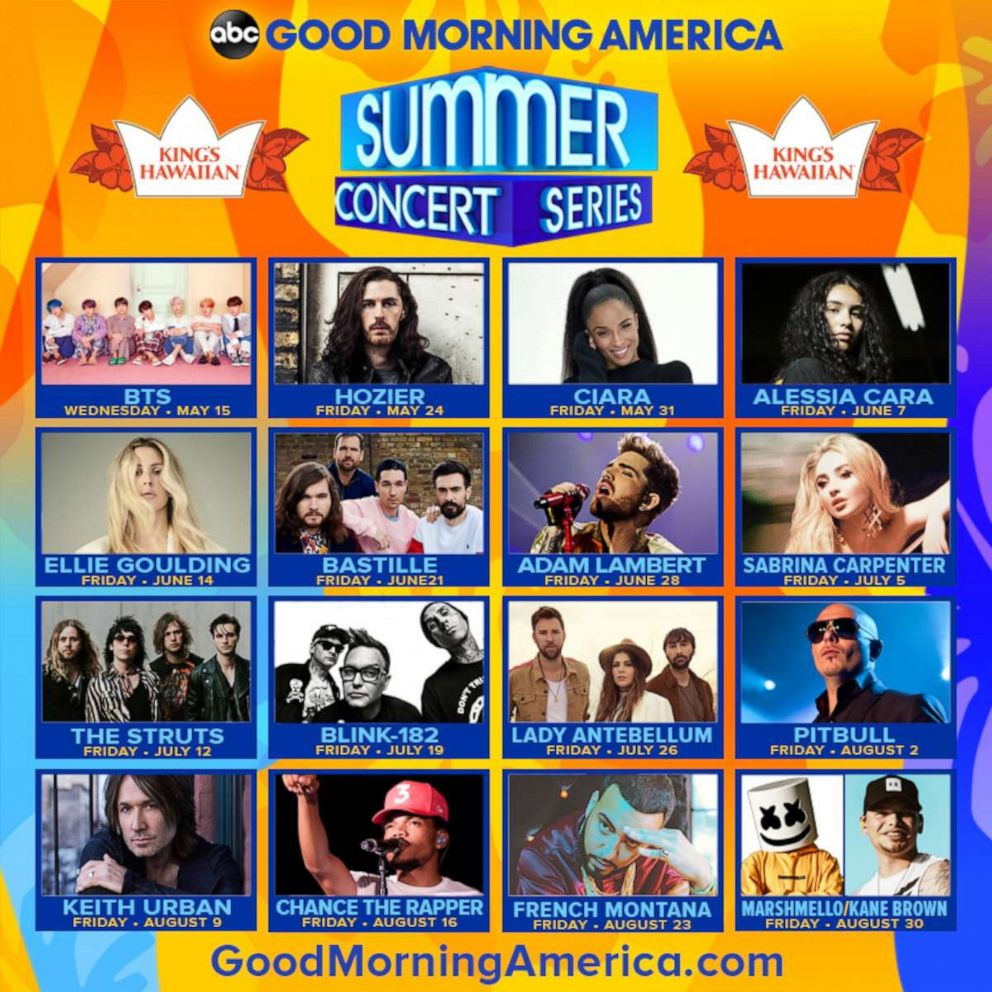 """""""Good Morning America"""" announces our 2019 Summer Concert series lineup!"""