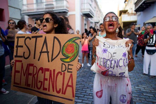 PHOTO: Colectiva Feminista protests in front of La Fortaleza in San Juan, Puerto Rico, Sept. 4, 2019.