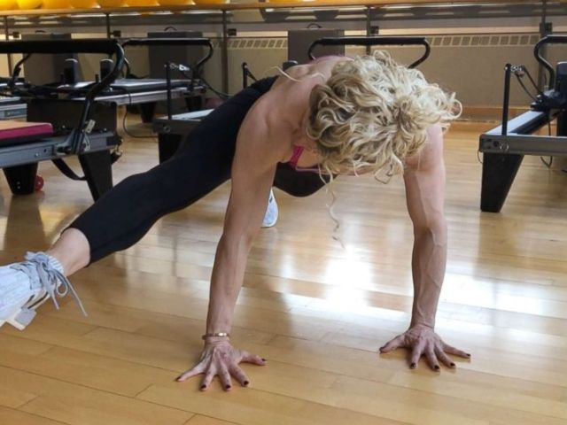 PHOTO: Ultimate Athletics Paula Ryff demonstrates a push up with side crunch