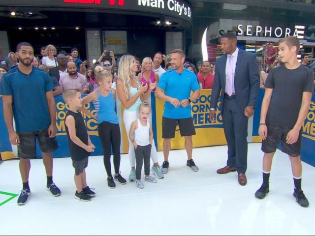 PHOTO: Chris and Heidi Powell share family workout tips on Good Morning America.