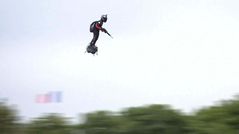man on flying hoverboard