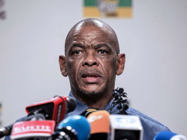 PHOTO: South African ruling Party African National Congress Secretary General Ace Magashule gives a press briefing on Feb. 13, 2018 on the outcome of the ANC National Executive Committee, in Johannesburg at the African National Congress Headquarters.