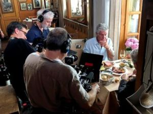 PHOTO: Anthony Bourdain is seen with a film crew at Wistub de la Petite Venise, a restaurant in Colmar, France, June 4, 2018.