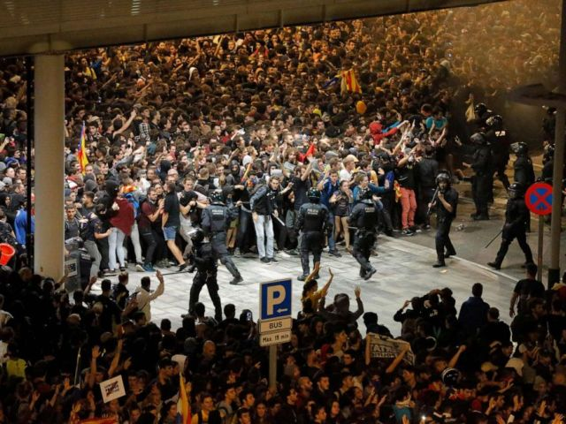 PHOTO: Protesters clash with Spanish policemen in Barcelona on Oct. 14, 2019, as thousands of angry protesters took to the streets after Spains Supreme Court sentenced nine Catalan separatist leaders to between nine and 13 years in jail.
