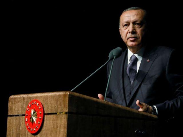 PHOTO: Turkish President Tayyip Erdogan speaks during a meeting in Ankara, Turkey, Oct. 24, 2018.