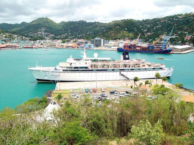 PHOTO: The Freewinds cruise ship is moored in the port of Castries, the capital of St. Lucia, on Thursday 2 May 2019.