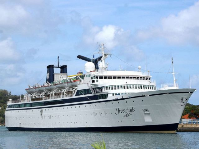 PHOTO: A 440-foot ship owned and operated by the Church of Scientology, SMV Freewinds, is docked under quarantine by a measles epidemic in a port near Castries, St. Lucia, on 2 May 2019.