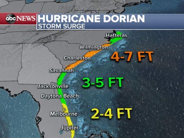 PHOTO: Hurricane Dorian storm surge map.