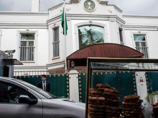 PHOTO: A food vendor pushes his cart past the residence of Saudi Arabias Consul General Mohammad al-Otaibi in Istanbul on Oct. 16, 2018.