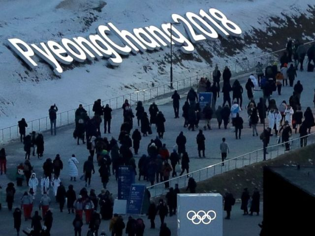 PHOTO: People arrive at the Olympic Stadium for the opening ceremonies of the 2018 Winter Olympics in Pyeongchang, South Korea, Feb. 9, 2018.