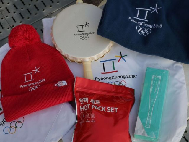 PHOTO: A package consisting of a hand warmer, a heat cushion, a wind cape, a small drum and a cap will be handed out to the audience at the opening ceremony of the Winter Olympics Feb. 9, 2018.