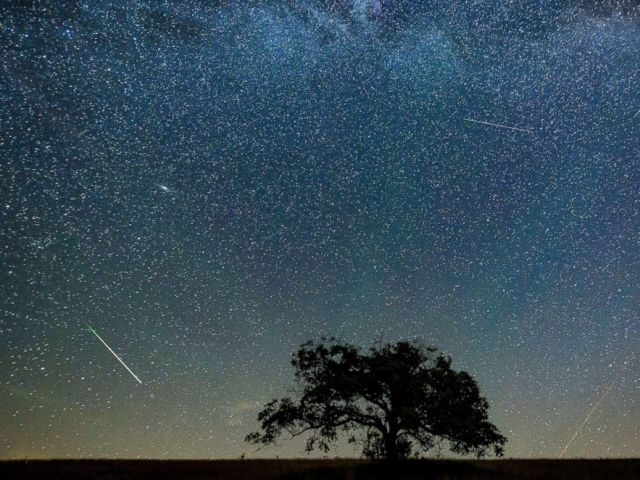 PHOTO: A meteor streaks through the sky during the Perseid meteor shower above the village of Hajnacka in Slovakia, Aug. 13, 2018.