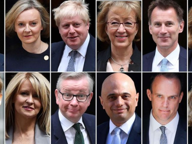 PHOTO: A combination of pictures created in London on May 17, 2019 shows declared and potential contenders in any upcoming Conservative Party leadership contest.