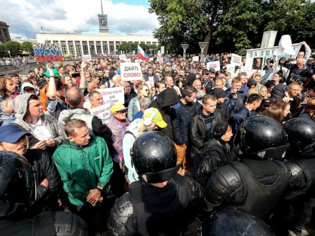 PHOTO: People take part in a solidarity rally in Lenina Square in support of rejected independent candidates in the upcoming Moscow City Duma election, Aug., 03, 2019.