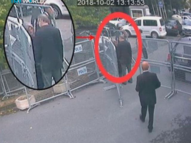 PHOTO: This image taken from CCTV video made available Sunday, Oct. 21, 2018, purportedly showing Saudi journalist Jamal Khashoggi talking to his fiancee Hatice Cengiz, seen in expanded view, before entering the Saudi consulate in Istanbul, Oct. 2, 2018.
