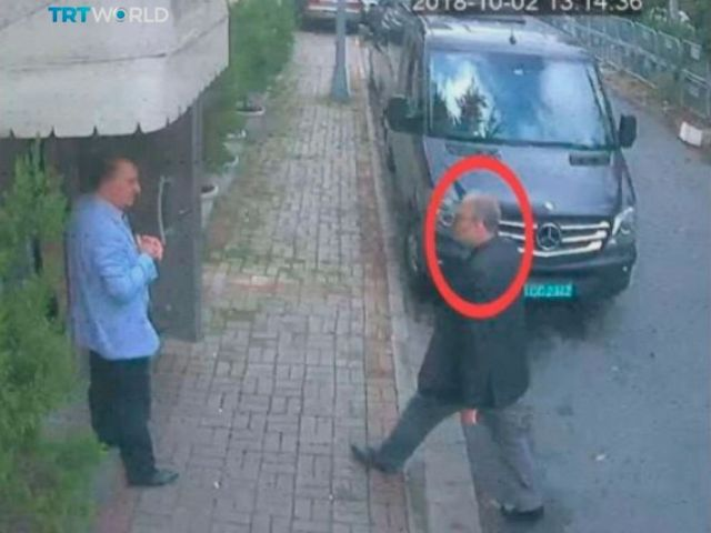 PHOTO: This image taken from CCTV video obtained by the Turkish broadcaster TRT World and made available on Sunday, Oct. 21, 2018, purportedly showing Saudi journalist Jamal Khashoggi entering the Saudi consulate in Istanbul, Oct. 2, 2018.