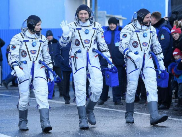 PHOTO: NASA astronaut Anne McClain, Russian cosmonaut Oleg Kononenko and David Saint-Jacques of the Canadian Space Agency prior to the launchof the Soyuz MS-11 spacecraft at the Russian-leased Baikonur cosmodrome in Kazakhstan, Dec. 3, 2018.
