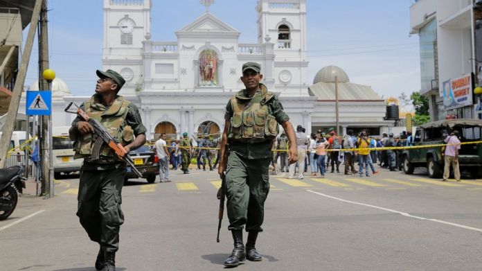 Sri Lanka Army soldiers secure the area around the shrine of St. Anthony after an explosion in Colombo, Sri Lanka, Sunday, April 21, 2019.