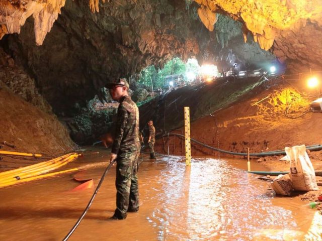 PHOTO: Thai rescue teams are arranging a water pumping system at the entrance to a flooded cave complex where 12 boys and their football coaches have been trapped in this undated photo since June 23 in Mae Sai, Chiang Rai province, northern Thailand.