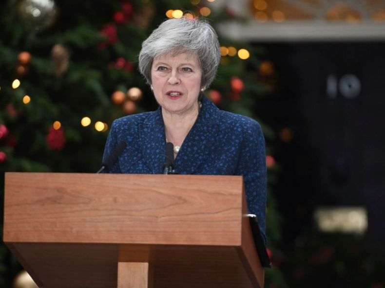 PHOTO: Britains Prime Minister Theresa May makes a media statement in Downing Street, London, confirming there will be a vote of confidence in her leadership of the Conservative Party, Wednesday Dec. 12, 2018.