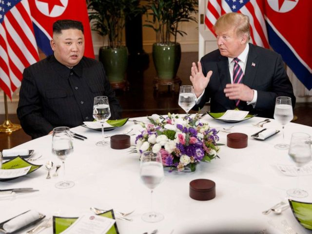 PHOTO: President Donald Trump has dinner with North Korean leader Kim Jong Un, Feb. 27, 2019, in Hanoi.