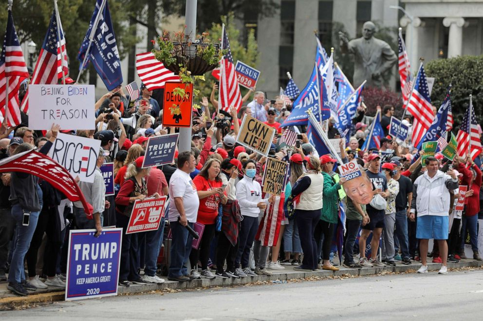 PHOTO: Supporters of President Donald Trump participate on a 'Stop the Steal' protest at the Georgia State Capitol, after the 2020 presidential election was called for Democratic candidate Joe Biden, in Atlanta, Nov. 7, 2020.