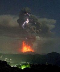 Lightning seen over Japan's so-called James Bond volcano ...