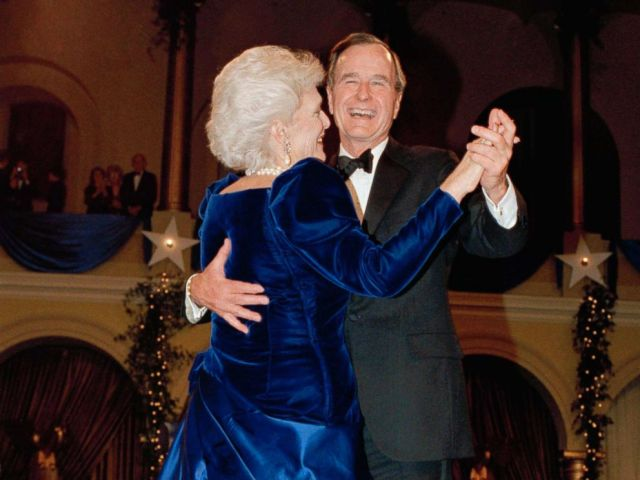 PHOTO: President George H.W. Bush and wife, Barbara dance at the inaugural ball at the Pension Building in Washington, Jan. 20, 1989.