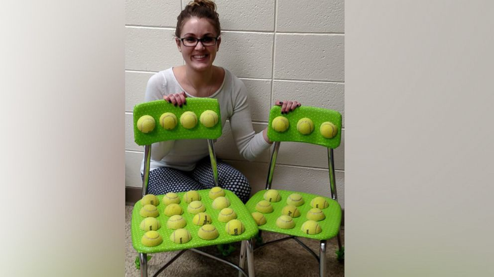 ball chairs for students high chair decorations 1st birthday teacher creates tennis to help with autism sensory issues