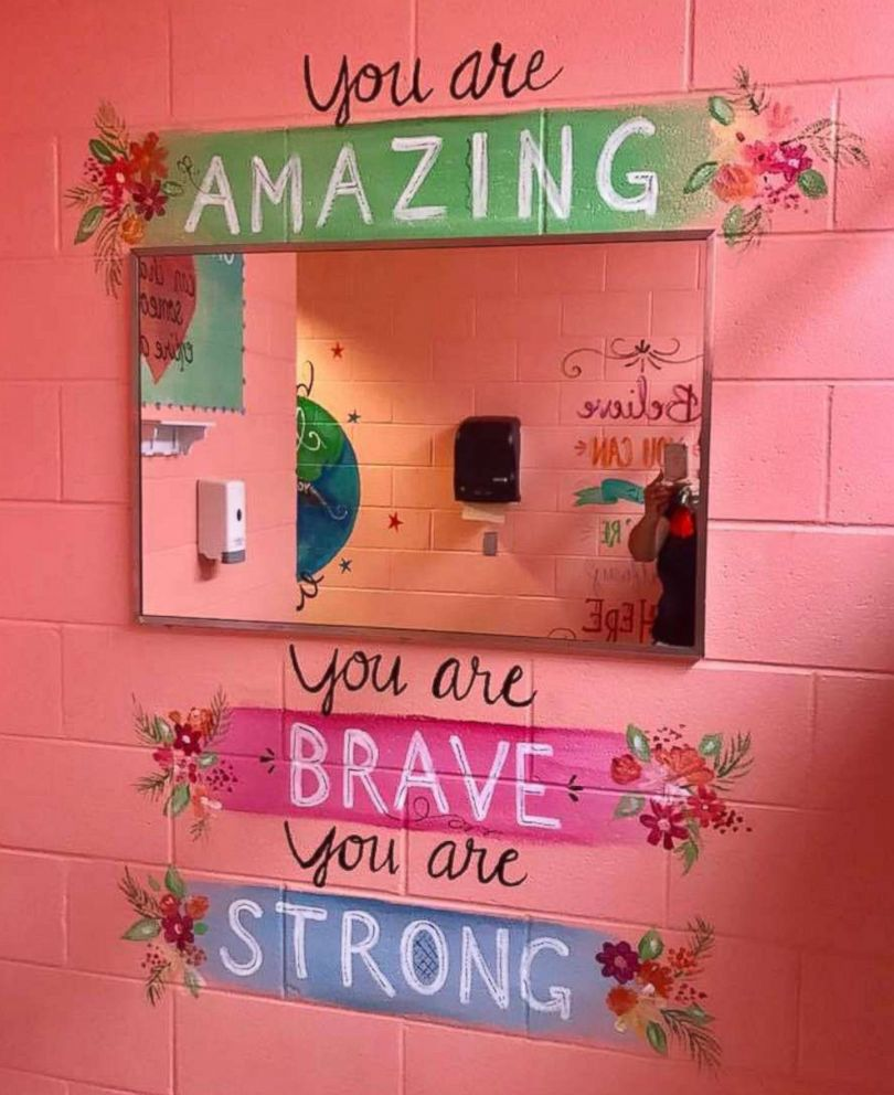 Girls Bathrooms Woman Paints Motivational Messages In Middle School Girls