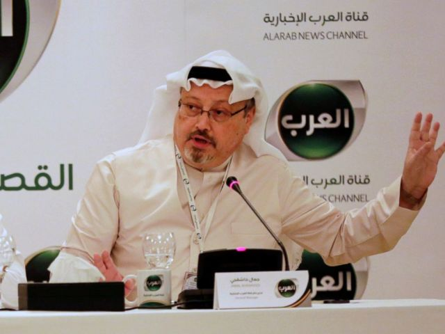 PHOTO: In this Dec. 15, 2014 file photo, Jamal Khashoggi, then general manager of a new Arabic news channel speaks during a press conference, in Manama, Bahrain.