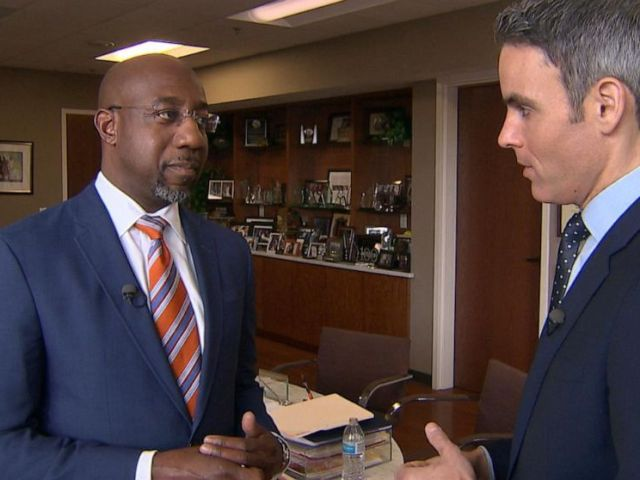 PHOTO: ABC News Devin Dwyer talks with Ebenezer Baptist Churchs Senior Pastor Dr. Raphael Warnock about the Democratic presidential primary, Nov. 17, 2019.