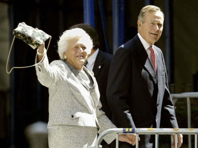 PHOTO: Former President George Bush and his wife Barbara walk toward Church of Our Saviour in New York City, Sept. 2, 2004.