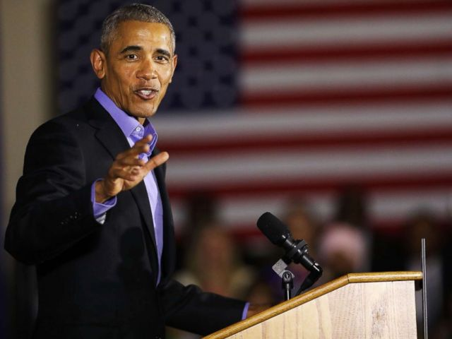 PHOTO: Former President Barack Obama speaks at a rally in support of Democratic candidate Phil Murphy for the governor of New Jersey, Oct. 19, 2017, in Newark, New Jersey.