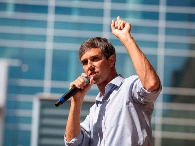 PHOTO: Representative Beto ORourke (D-TX) speaks during a campaign rally in Plano, Texas, on Sept. 15, 2018.