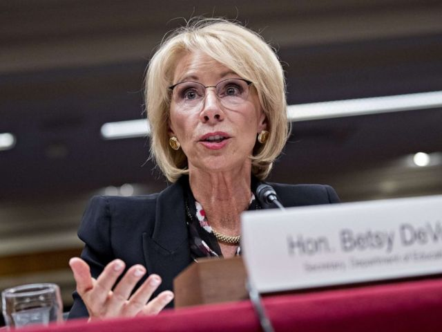 PHOTO: Secretary of Education Betsy DeVos speaks during a Senate Appropriations Subcommittee hearing in Washington, March 28, 2019.