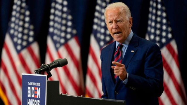 PHOTO: Democratic presidential candidate and former Vice President Joe Biden speaks on the state of the economy on Sept. 4, 2020, in Wilmington, Del.