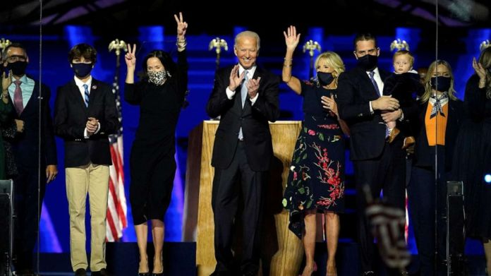 PHOTO: President-elect Joe Biden is accompanied on the stage by his wife Jill, and members of their family, after speaking in Wilmington, Del., Nov. 7, 2020.