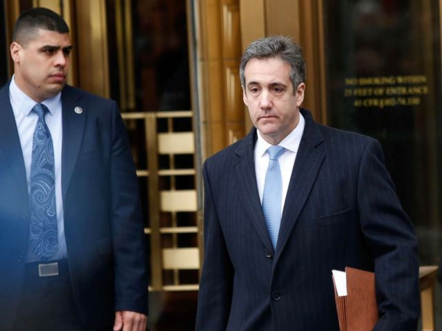 PHOTO: Michael Cohen, President Donald Trumps former personal attorney exits federal court after his sentencing hearing, Dec. 12, 2018, in New York.